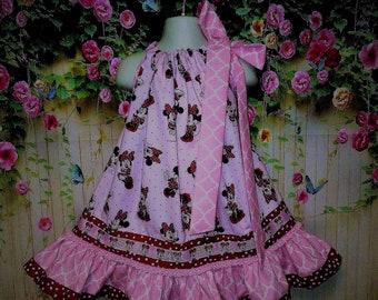 Girls Dress 2T/3T Minnie Mouse Pink Pillowcase Dress, Pillow Case Dress, Sundress, Boutique Dress