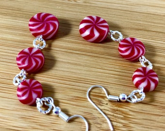 3 drop peppermint candy polymer clay earrings