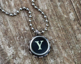 Initial Necklace, Vintage Typewriter Key, Teacher Gift, Letter Y