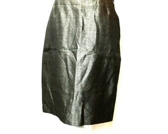 1980 LANVIN paris wool + silk skirt / vintage Lanvin / Lanvin skirt / silk skirt Lanvin / grey skirt Lanvin