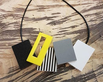 geometric necklace, free shipping, minimalist pendant necklace, yellow statement necklace, yellow geometric necklace,  women gift for her