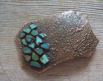 Copper Turquoise Buckle, Vintage Belt Buckle, Vintage BELL Copper Turquoise Chunk Unisex Huge Belt Buckle, Vintage Copper Turquoise Buckle