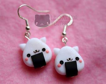Kawaii Earrings Nekogiri - Onigiri and Cats