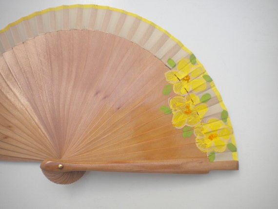 Floral Design Lemon Natural Wood SIZE OPTIONS Hand Fan Hand Painted