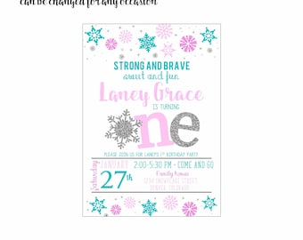 Snowflake Invitation 4x6 or 5x7 digital you print your own- Design 245