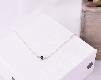 Dainty Sapphire Necklace / Blue Sapphire Necklace / Delicate Gemstone Necklace / Blue Sapphire / Layering Necklace / September Birthstone