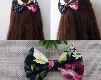Floral hair bows, girl hair bows, women hair bows, fabric hair bows, gift for her, women hair accessories, girl hair accessories