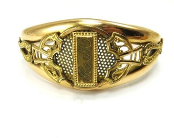 Antique Gold Bracelet Monogram Letter R M Wide Hinged Bangle Gold Filled Victorian Edwardian Jewelry Antique Jewelry Personalized