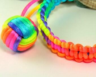 OOAK - Rainbow Ball Bracelet, by Monkey Fist Knot