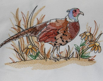 Watercolor pheasant embroidery design on floursack towel