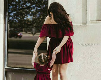 Women's (XS-XXXL) Off The Shoulder Ruffle Dress. Burgundy. Fall, Spring, Summer. Mommy and Me Dress. Bridesmaid. Wedding. Daughter