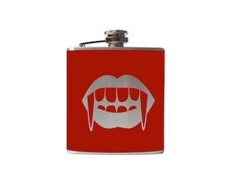 Vampire Kiss Flask- alcohol, liquor, booze, wedding, bridal party, hip pocket- Personalized Custom - YOU pick COLOR, SIZE