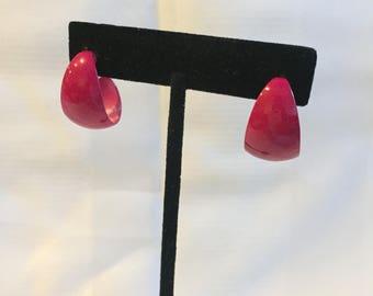 "Beautiful Pink Metal Earrings  1"" Fashion Earrings Evening Earrings Formal Earrings 80s Fashion"