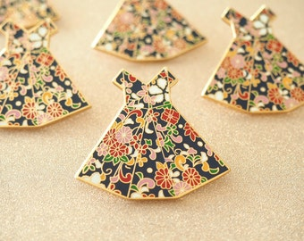 Origami Dress Lapel Pin - Enamel Pins, Pin Button, Dress Brooch, Gift for Her, Floral Pin, Flair, Valentine's Day Gift, Jewelry