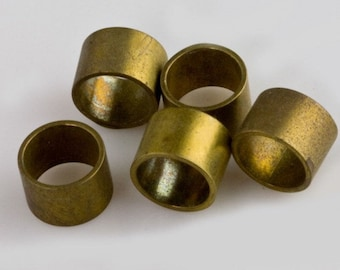 Solid brass cylinder spacers, 5mm x 7mm. Package of 12. b18-0389