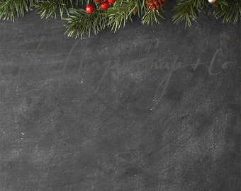 Vertical Chalkboard and Garland | Styled Stock Photography | Christmas Photography | Digital Image