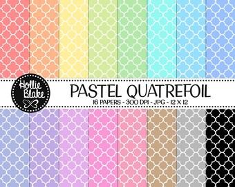 50% off SALE!! 16 Pastel Quatrefoil Digital Paper • Rainbow Digital Paper • Commercial Use • Instant Download • #QUATREFOIL-101-2-P