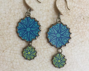 "Tin Jewelry Earrings ""Caribbean Sea"" Collection Tin for the Ten Year Tenth Wedding Anniversary"