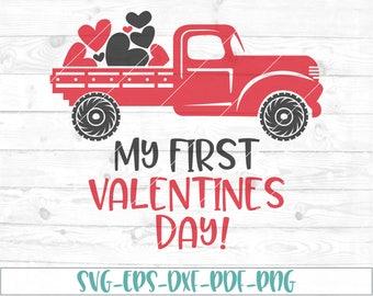 My first valentines day svg, eps, dxf, png, cricut or cameo, scan N cut, cut file, valentines day svg, boys valentine svg, truck svg