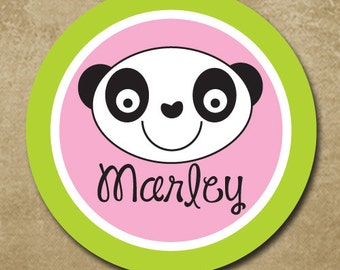 Panda Bear Melamine Plate, Bear Plate, Lime and Pink, Personalized Kids Melamine Plate, Kids Dinnerware, Plastic Plate