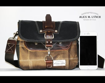 PETITE Waxed Canvas cross body Messenger bag - handmade - field tan + black + leather accents 010027