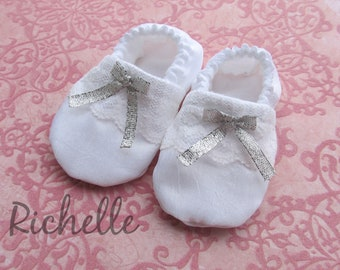 White Silver Baby Girl Shoes Baptism Blessing Christening Special Occasion Dressy Shimmery Silky Soft Sole Crib Shoes Outfit, Infant Toddler