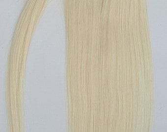 18inches 100% Human Hair, Wrap Around Ponytail Hair Extensions # 60 White Blonde (NOT the very Pale Blonde) with a tinge of golden.