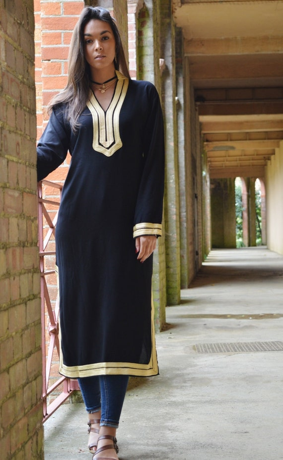 Autumn Mariam Style Black Caftan Kaftan - Perfect as loungewear,resortwear,spa robe,gift, winter dress, Birthdays or Maternity Gifts