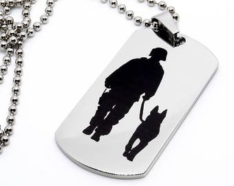 Dog Tag, Military Style Dog Tag, Stainless Steel Dog Tag, Jewelry Dog Tag, Personalized Dog Tag, Military Style Jewelry, USMC K9