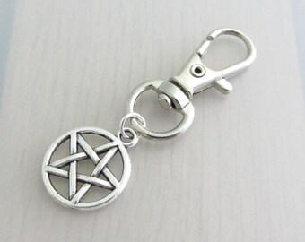 Pentagram Bag Charm, Wiccan Purse Clip, Silver Pentacle Handbag Charm, Pagan Charm Zipper Pull, Supernatural Bag Charm, Witches Gift