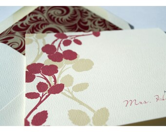 Apple Blossom Silhouette in Red Personalized Stationery - Silhouette Branch with Blooms Note Cards - Personalized Stationery