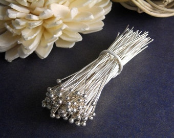 HEADPIN-SILVER-45MM - 50 Silver Plated Ball End Headpins, 45mm (1.75 inches), 24 gauge Nickel Free