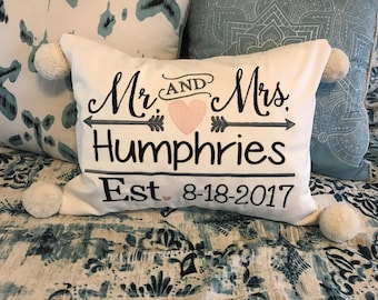 Mr and Mrs Embroidered Throw Pillow, Personalized Mr Mrs Pillow, Monogrammed Wedding Pillow