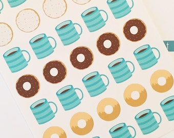 35 Coffee and Donut Planner Stickers- Coffee Date Reminder Stickers- perfect in your Erin Condren planner, wall calendar or scrapbook