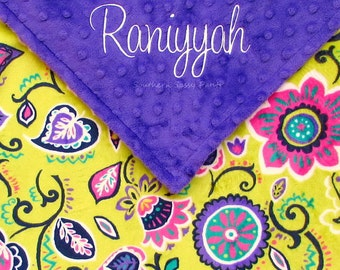 Personalized Baby Girl Blanket , Lavender and Purple Blanket - Plum and Violet Spice Garden Minky Toddler Blanket - 36x40