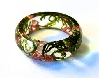 Terrarium jewelry Resin Ring Natural Green moss copper flakes alternative engagement rings terrarium ring terrarium resin ring natural style