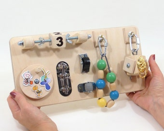 Busy Board Sensory Montessori Kid Toy Toddler Learning Travel Natural Educational Gift Baby Latch Activity Board Custom Quiet Time Soft Game