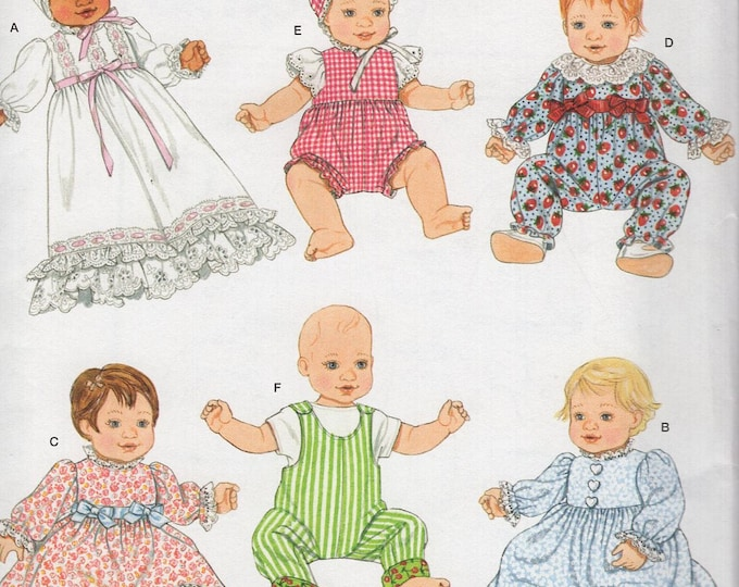"Simplicity 2704 Free Us Ship 50's Reproduction 12-22"" Babydoll Doll Clothes Wardrobe New Sewing Pattern Out of Print"