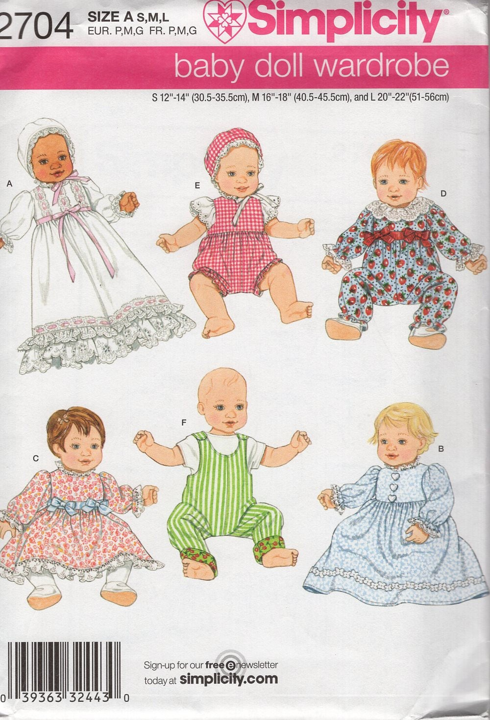 Simplicity 2704 Free Us Ship 50\'s Reproduction 12-22 Babydoll Doll ...