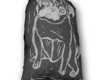Pocket Pug Art Doll - Fiber Art - Black Pug - Olive