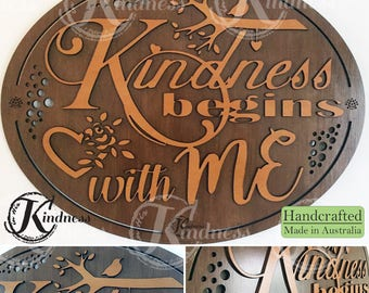Wooden Wall Art, Kindness Begins with Me, Inspirational Quote, inspirational gift, home sign decor