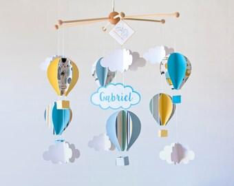MÓVIL bebé GLOBOS aerostáticos, Móvil cuna personalizado, Regalo Baby Shower, Habitación bebé, Regalo bebé, Decoración infantil, Sueño bebé