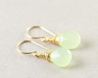 Green Chalcedony Earrings, Kiwi Lime Green Drop Earrings,Light  Green Earrings
