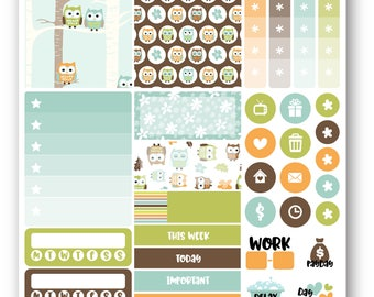 Ready to ship Green Owls sampler weekly stickers kit, Suitable for Erin Condren vertical planner, Weekly planner stickers, Mini weekly kit