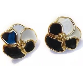 Vintage Monet Enamel Flower Earrings Black White Gold Signed Studs 70s 80s 90s