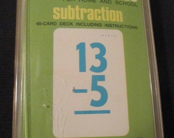 Vintage Subtraction Flash Cards by  Whitman Vintage Ephemera. Scrapbook Supplies, Home Lesson, Junk Journal.Made in USA Flash Cards