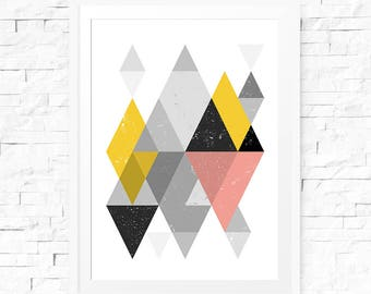 Printable Abstract Art, Geometric Print, Abstract Poster, Scandinavian Poster, Printable Downloads, Printable Wall Art, Geometric Art