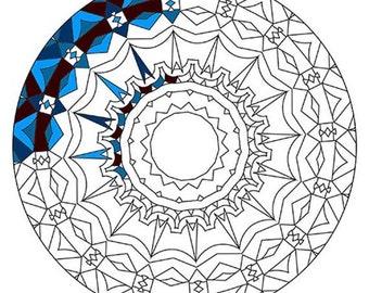 Mandala Coloring Pages - The Dayuan - Mandala Coloring Page Printable, Adult Coloring, Digital Coloring, Mandala Art