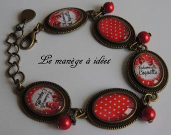 Bracelet / Cabochon / glass/Metal/Bronze adjustable Mademoiselle Coquette, Vintage.