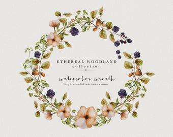 Wild flowers clipart - watercolor wreath - watercolor berries - watercolor berry wreath - fall flowers clipart - autumn wreath clipart
